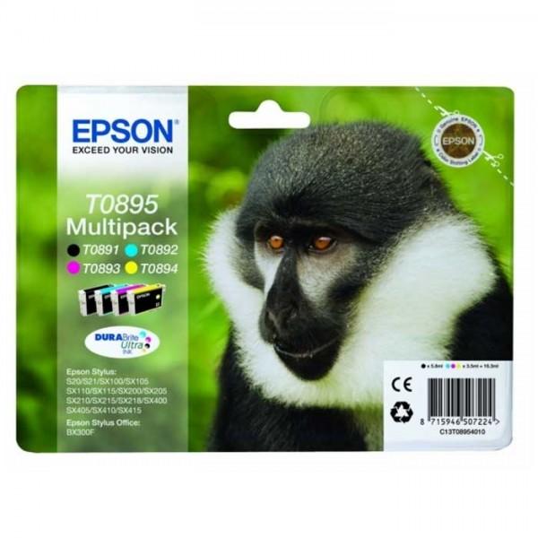 Original Epson T0895 Tinten C13T08954010 Multipack 4-Farbig - Neu & OVP