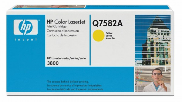 Original HP Color Laserjet Toner Q7582A yellow - Neu & OVP